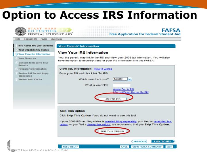 Option to Access IRS Information