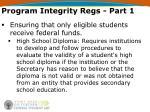 program integrity regs part 11