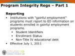 program integrity regs part 19