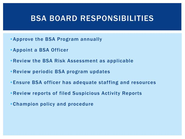 BSA Board Responsibilities