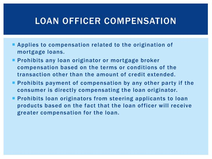 Loan Officer Compensation