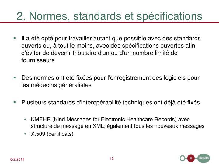 2. Normes, standards et spécifications
