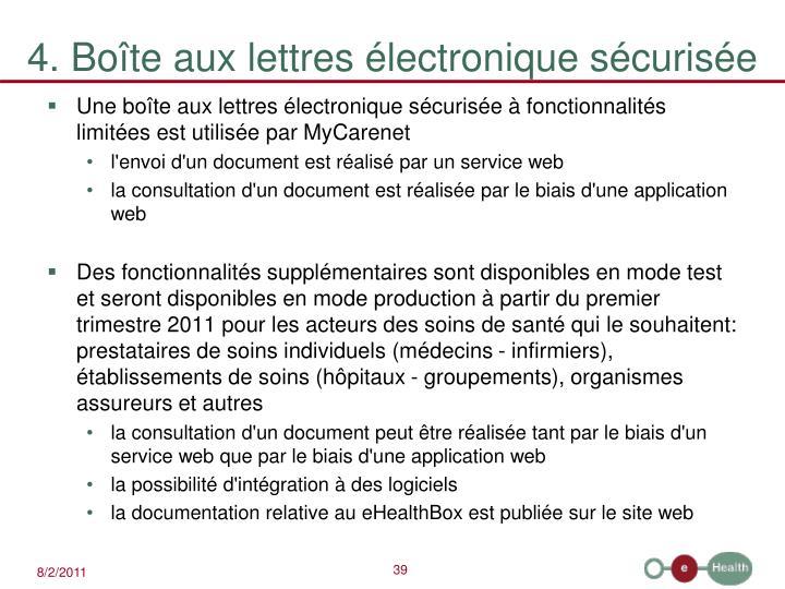 4. Boîte aux lettres électronique sécurisée