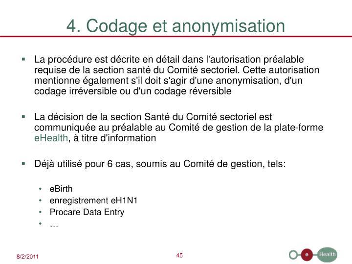 4. Codage et anonymisation