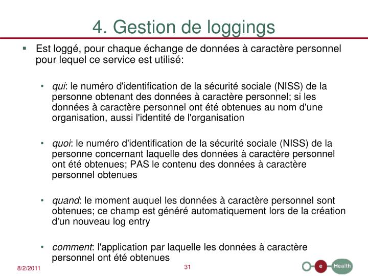 4. Gestion de loggings