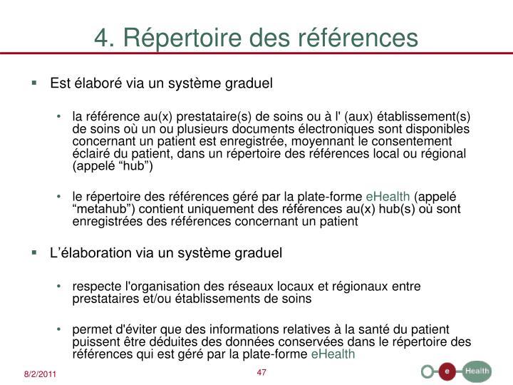 4. Répertoire des références
