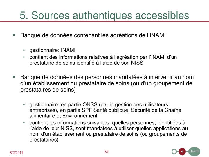 5. Sources authentiques accessibles