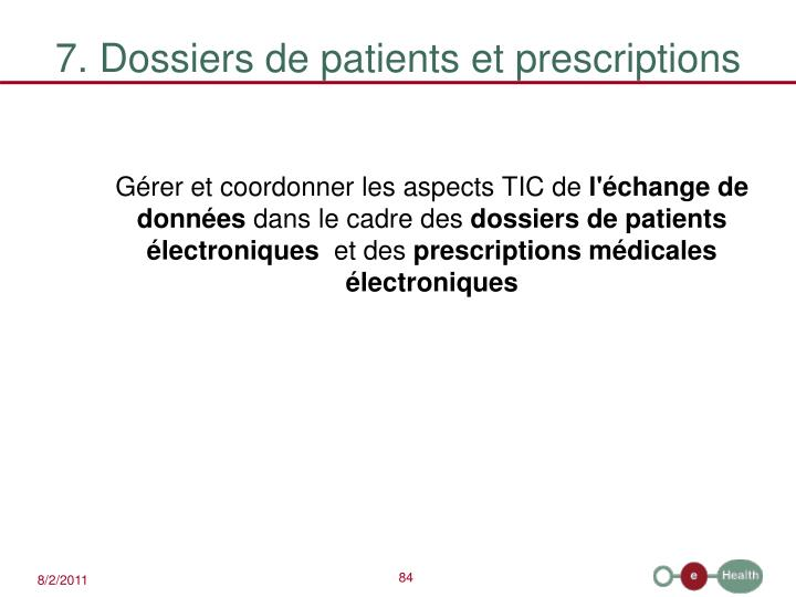7. Dossiers de patients et prescriptions