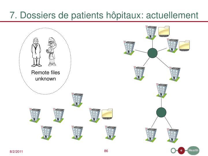 7. Dossiers de patients hôpitaux: actuellement