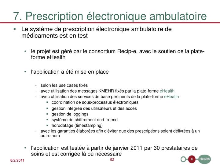 7. Prescription électronique ambulatoire