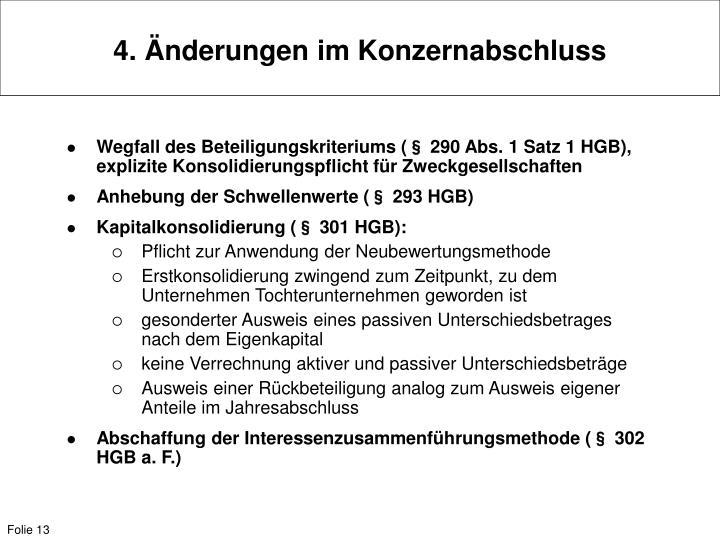 4. Änderungen im Konzernabschluss