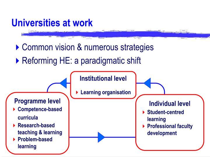 Universities at work
