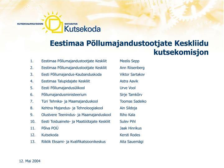 Eestimaa Põllumajandustootjate Keskliidu kutsekomisjon
