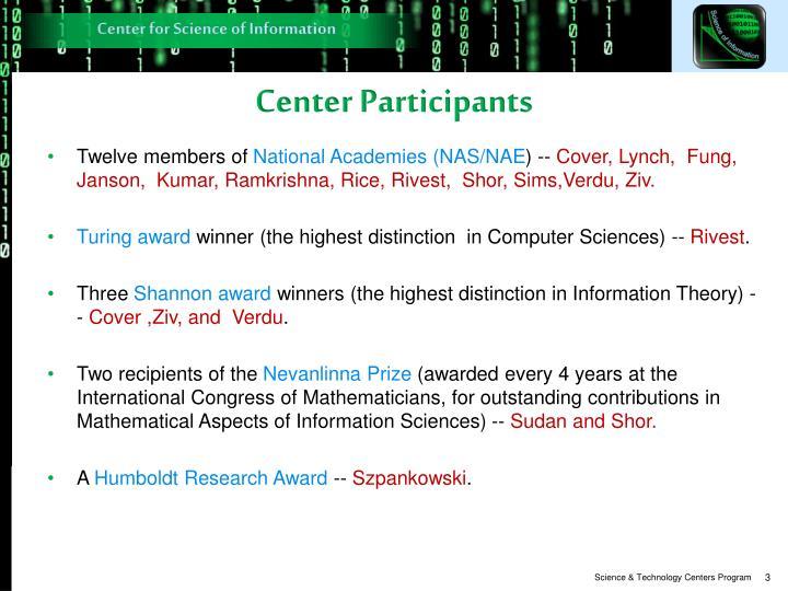 Center Participants