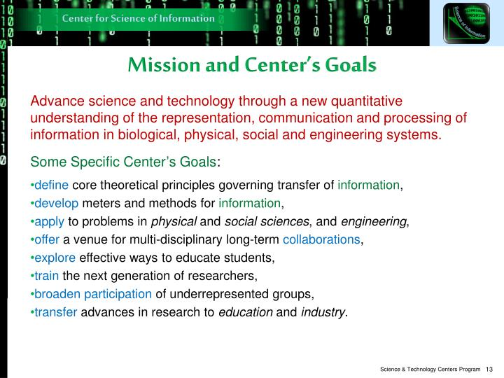 Mission and Center's Goals