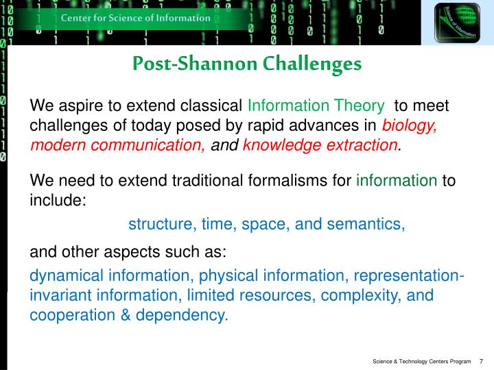 Post-Shannon Challenges