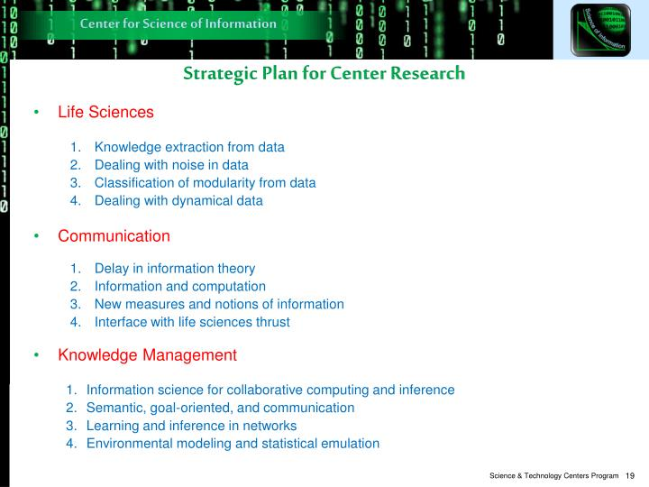 Strategic Plan for Center Research
