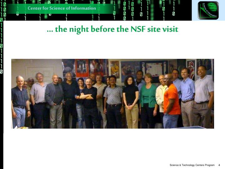 … the night before the NSF site visit
