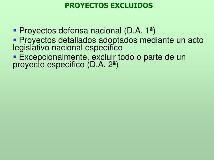 PROYECTOS EXCLUIDOS