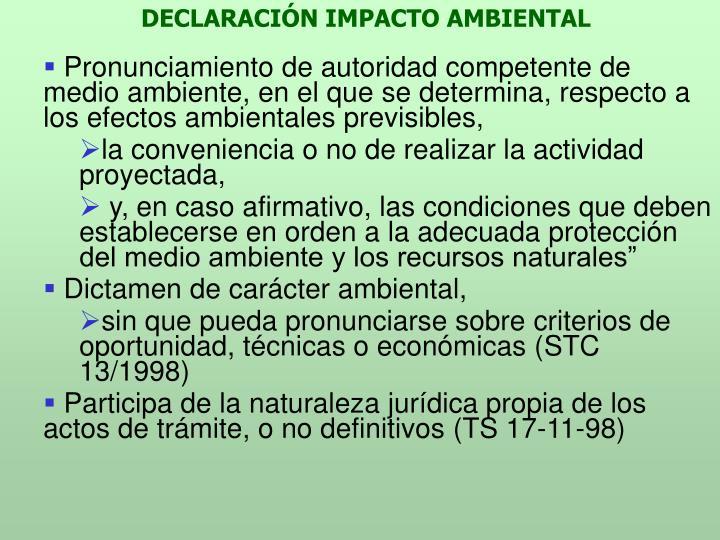 DECLARACIÓN IMPACTO AMBIENTAL