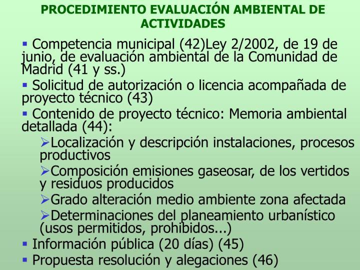 PROCEDIMIENTO EVALUACIÓN AMBIENTAL DE ACTIVIDADES