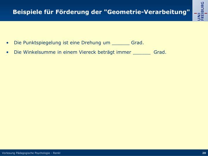 """Beispiele für Förderung der """"Geometrie-Verarbeitung"""""""