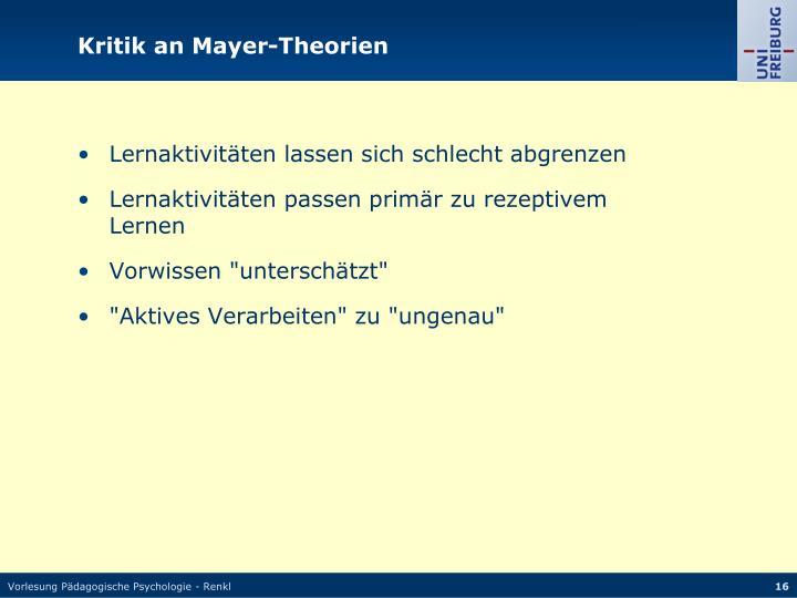 Kritik an Mayer-Theorien
