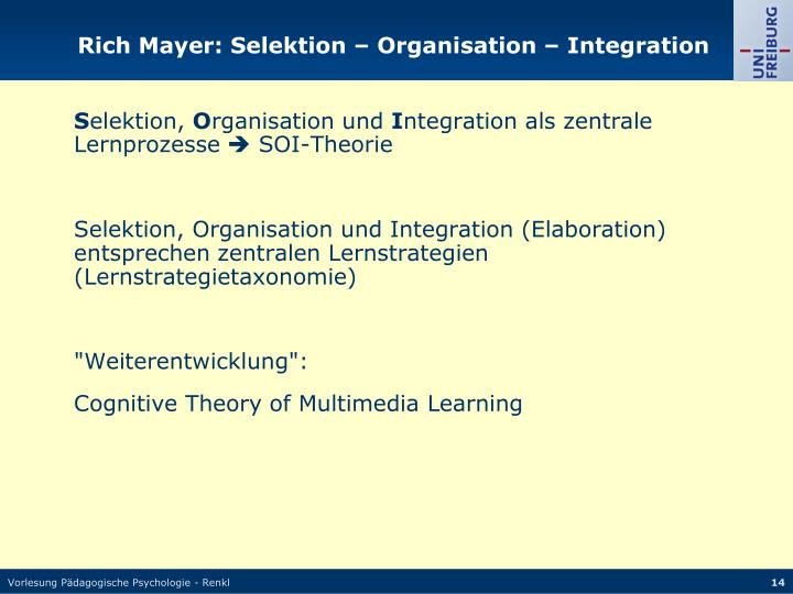Rich Mayer: Selektion – Organisation – Integration