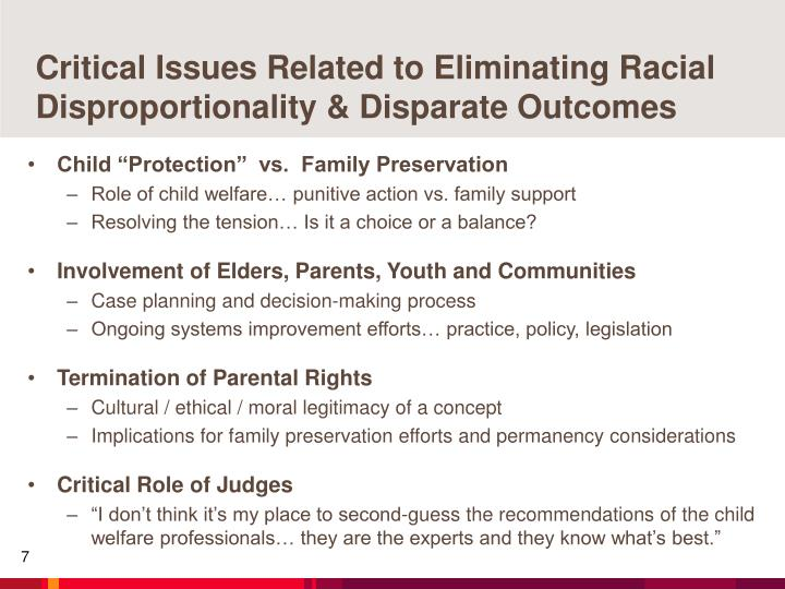 Critical Issues Related to Eliminating Racial Disproportionality & Disparate Outcomes