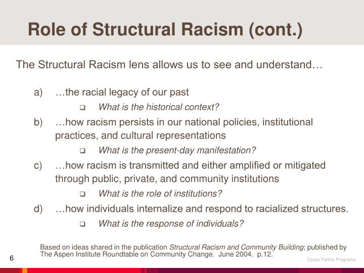 Role of Structural Racism (cont.)