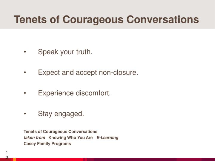 Tenets of Courageous Conversations