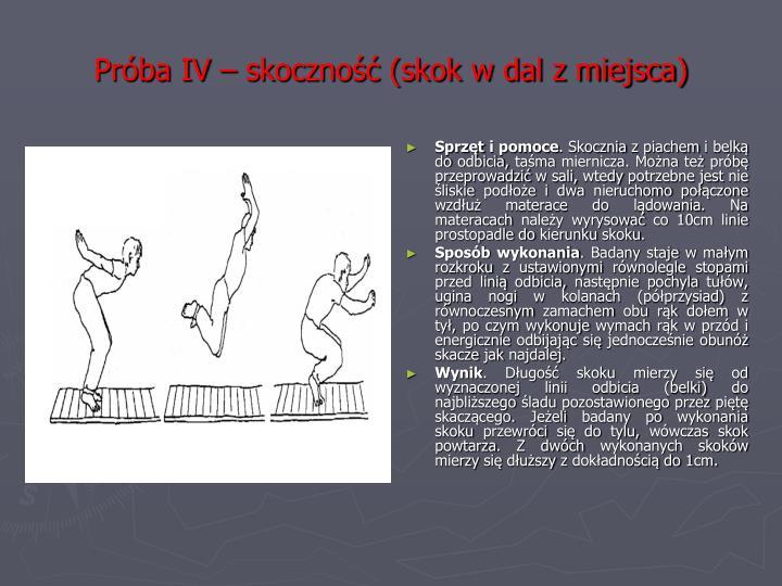 Próba IV – skoczność (skok w dal z miejsca)