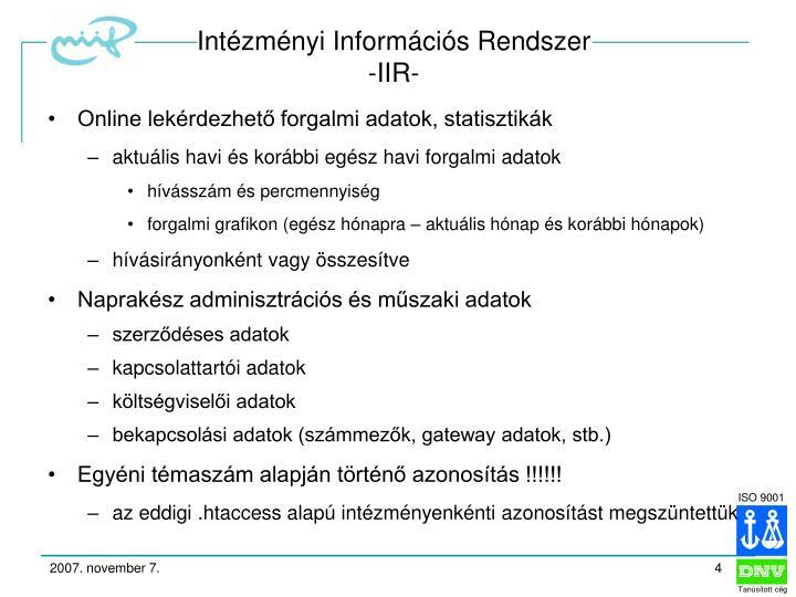 Intézményi Információs Rendszer