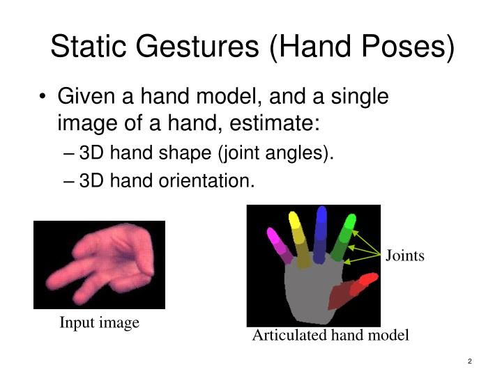 Static gestures hand poses