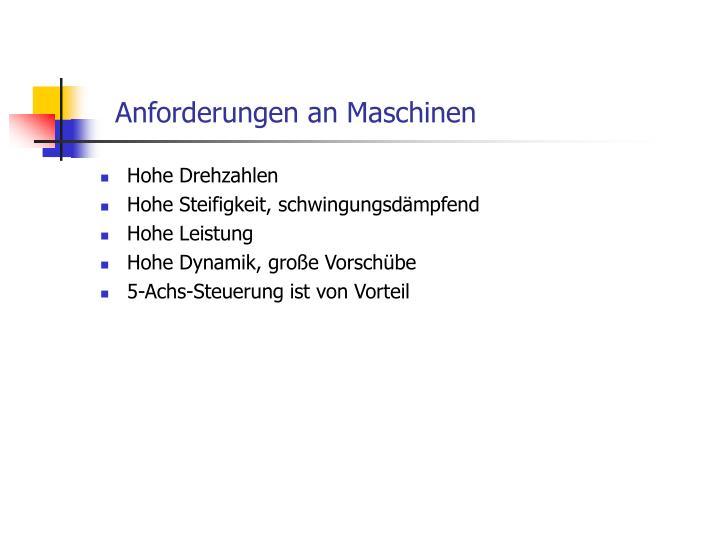 Anforderungen an Maschinen