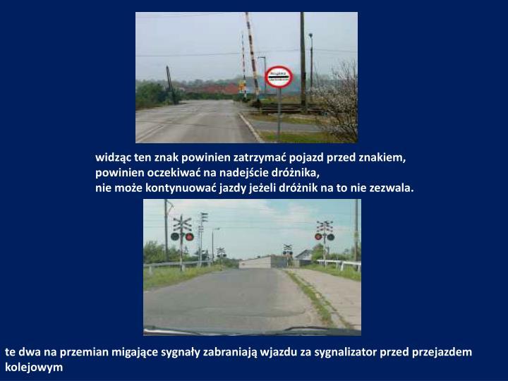 widząc ten znak powinien zatrzymać pojazd przed znakiem,