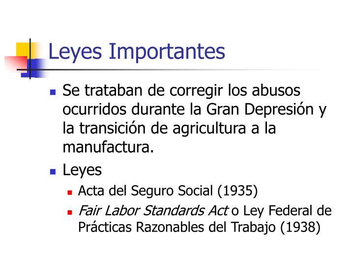 Leyes Importantes