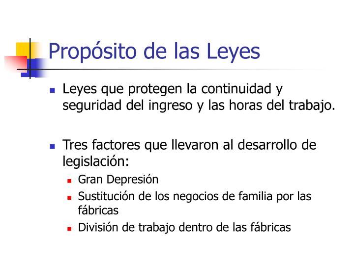 Propósito de las Leyes
