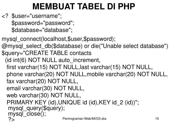 MEMBUAT TABEL DI PHP