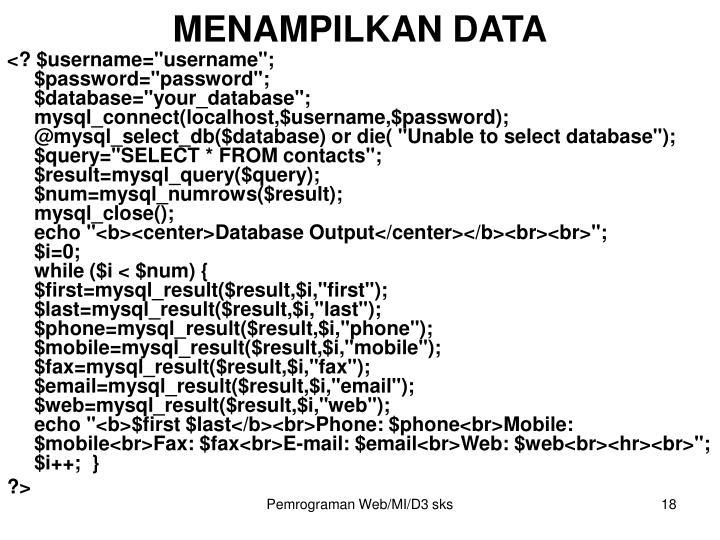 MENAMPILKAN DATA