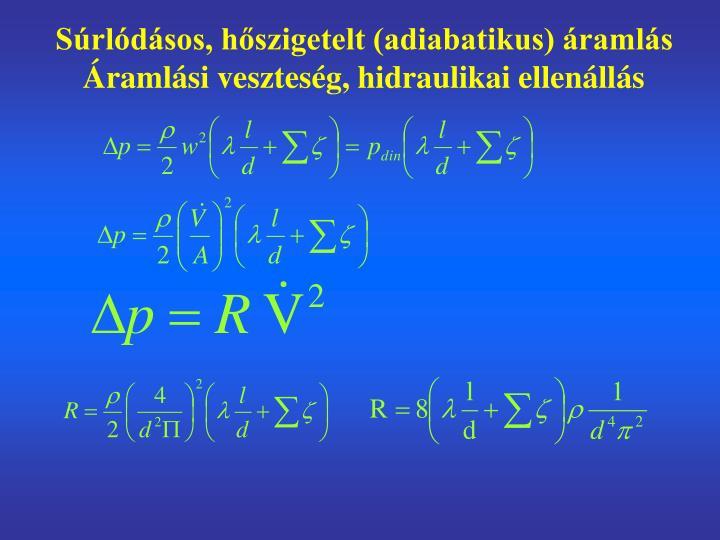 Súrlódásos, hőszigetelt (adiabatikus) áramlás Áramlási veszteség, hidraulikai ellenállás