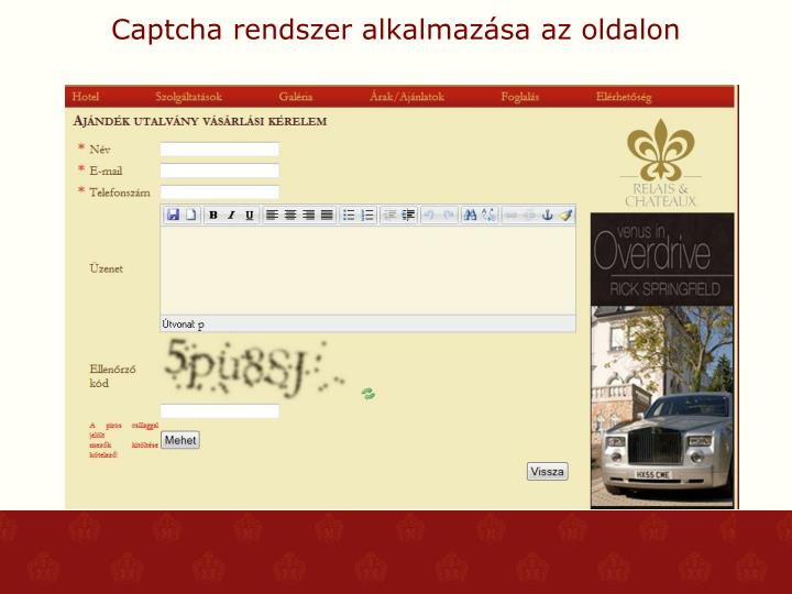 Captcha rendszer alkalmazása az oldalon