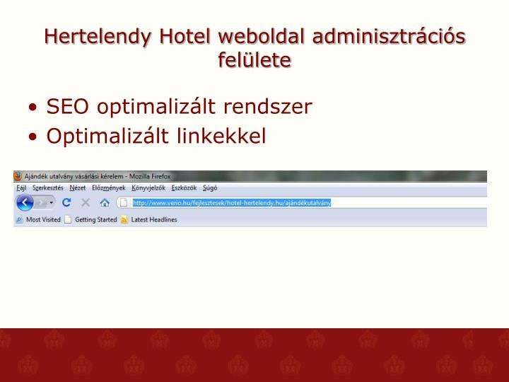Hertelendy Hotel weboldal adminisztrációs felülete