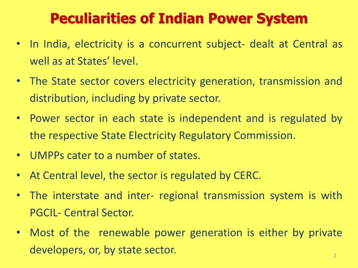Peculiarities of Indian Power System