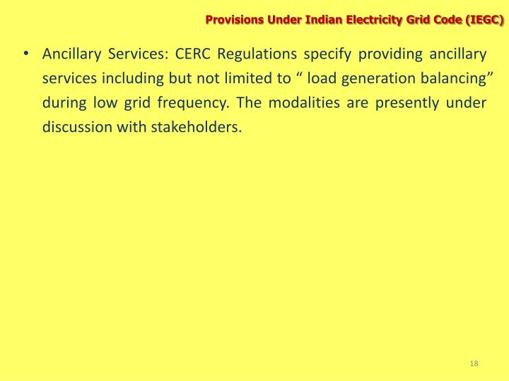 Provisions Under Indian Electricity Grid Code (IEGC)