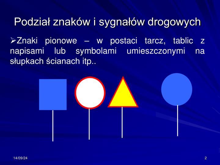 Podział znaków i sygnałów drogowych