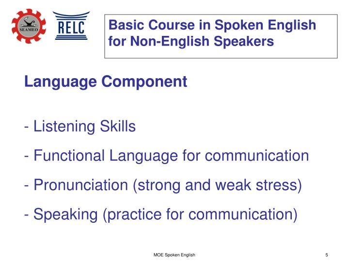Basic Course in Spoken English for Non-English Speakers