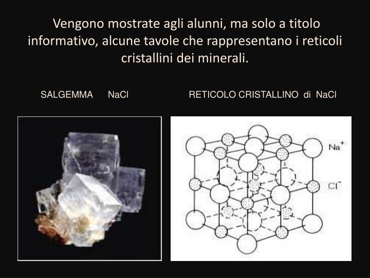 Vengono mostrate agli alunni, ma solo a titolo informativo, alcune tavole che rappresentano i reticoli cristallini dei minerali.