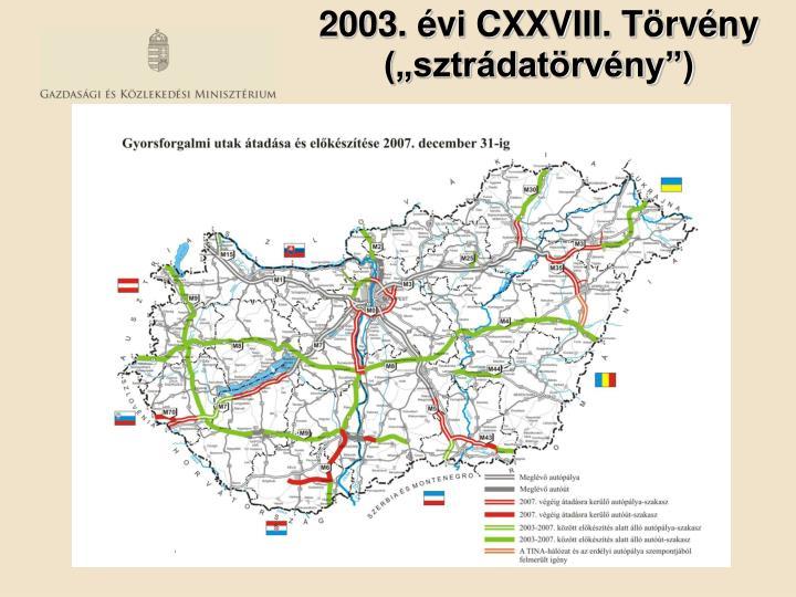 """2003. évi CXXVIII. Törvény (""""sztrádatörvény"""")"""