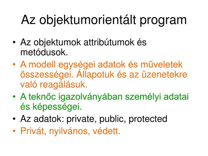 Az objektumorientált program
